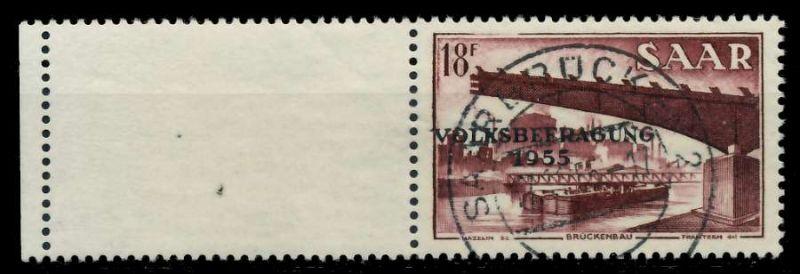 SAARLAND 1955 Nr 363L zentrisch gestempelt 79DDDE
