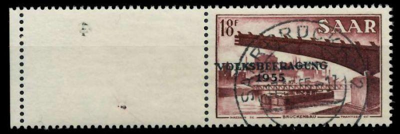 SAARLAND 1955 Nr 363L zentrisch gestempelt 79DDF2