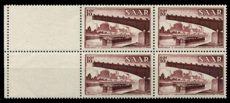 SAARLAND 1952 Nr 330L postfrisch VIERERBLOCK 7A13E6