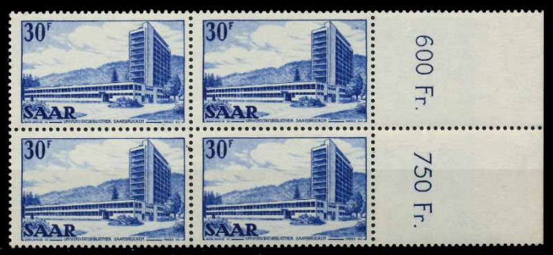 SAARLAND 1952 Nr 332 postfrisch VIERERBLOCK ORA 7A13FE