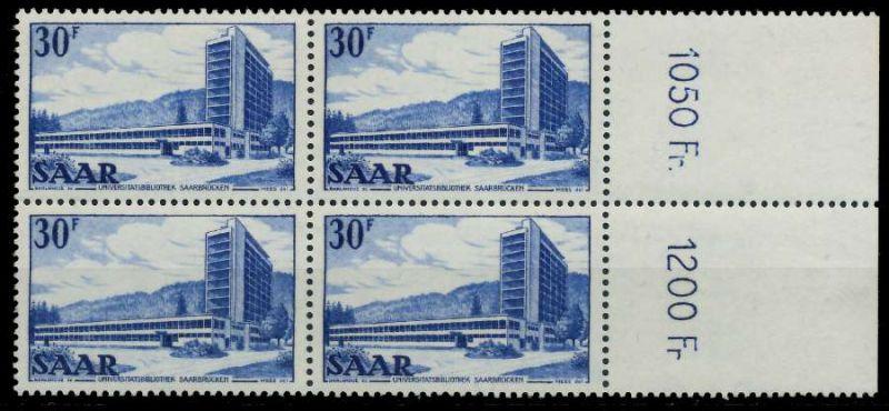 SAARLAND 1952 Nr 332 postfrisch VIERERBLOCK ORA 7A140E