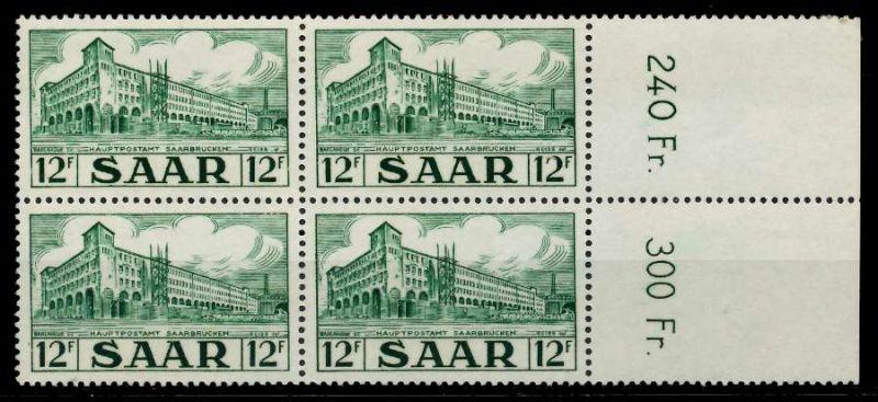 SAARLAND 1952 Nr 323 postfrisch VIERERBLOCK ORA 7A141E