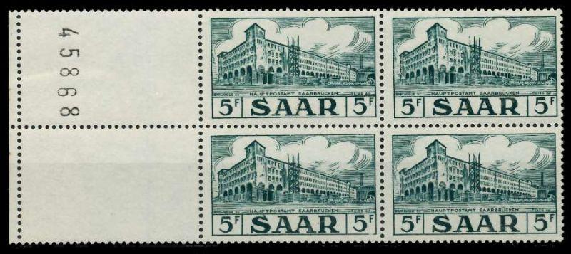 SAARLAND 1952 Nr 323L postfrisch VIERERBLOCK 7A1432
