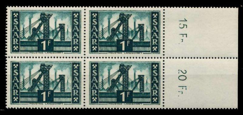 SAARLAND 1952 Nr 319 postfrisch VIERERBLOCK ORA 7A144E
