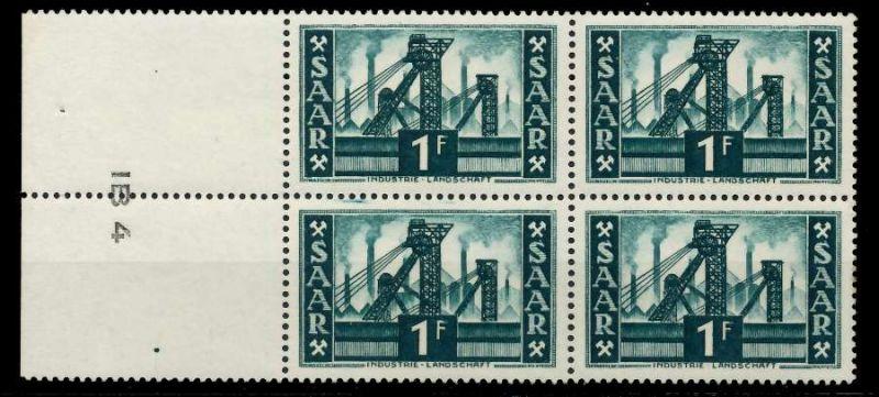 SAARLAND 1952 Nr 319 postfrisch VIERERBLOCK URA 7A1456
