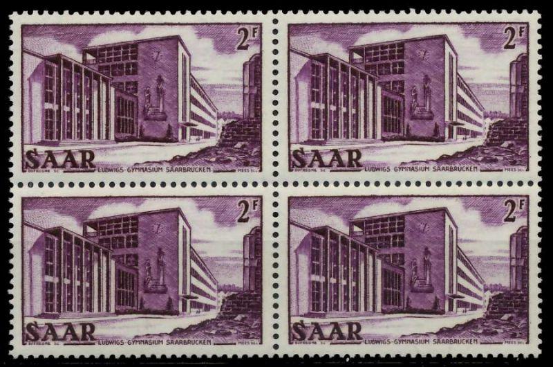SAARLAND 1952 Nr 320 postfrisch VIERERBLOCK 7A148A