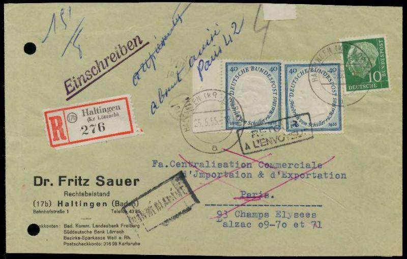 BRD 1955 Nr 210 BRIEF MIF BRIEFVORDERSEITE 794CEE 0