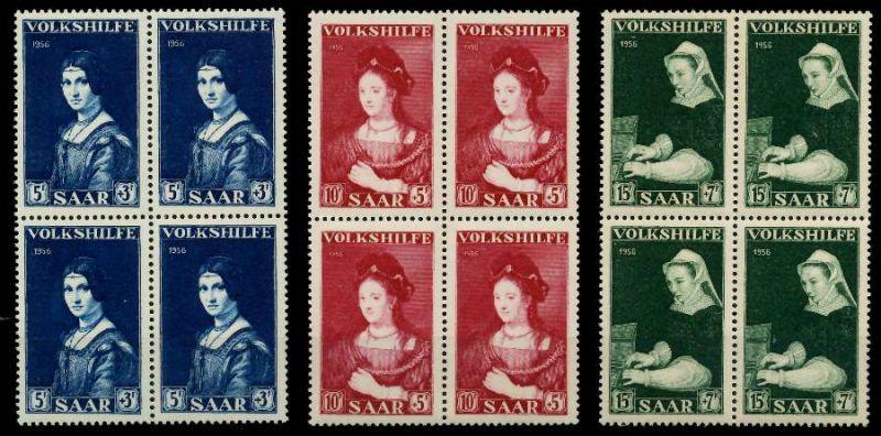 SAARLAND 1956 Nr 376-378 postfrisch VIERERBLOCK 79C39E 0