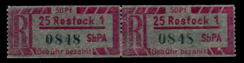 DDR EINSCHREIBM Nr 1Cy Z PLZ 25-1 postfrisch WAAGR PAAR 7BD212