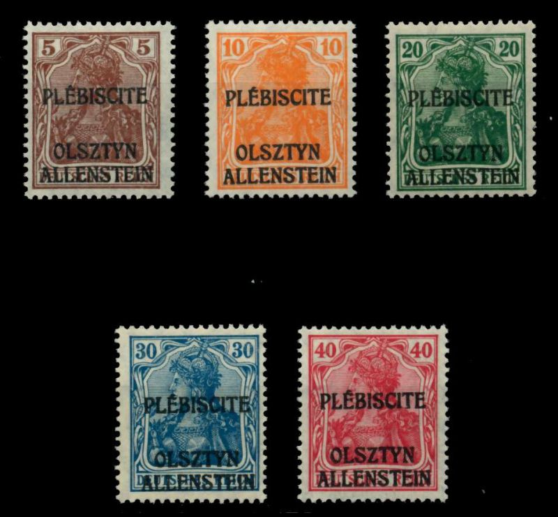 ABSTG ALLENSTEIN Nr II-VI postfrisch ATTEST 6CC14A