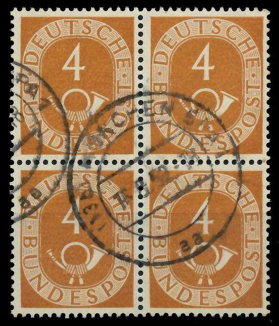 BRD DS POSTHORN Nr 124 gestempelt VIERERBLOCK 7D0D5E