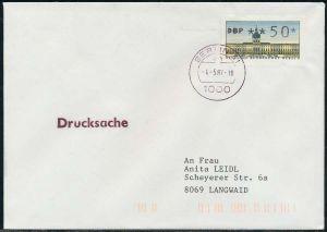 BERLIN ATM 1-050 DRUCKSACHE EF FDC 7E4656