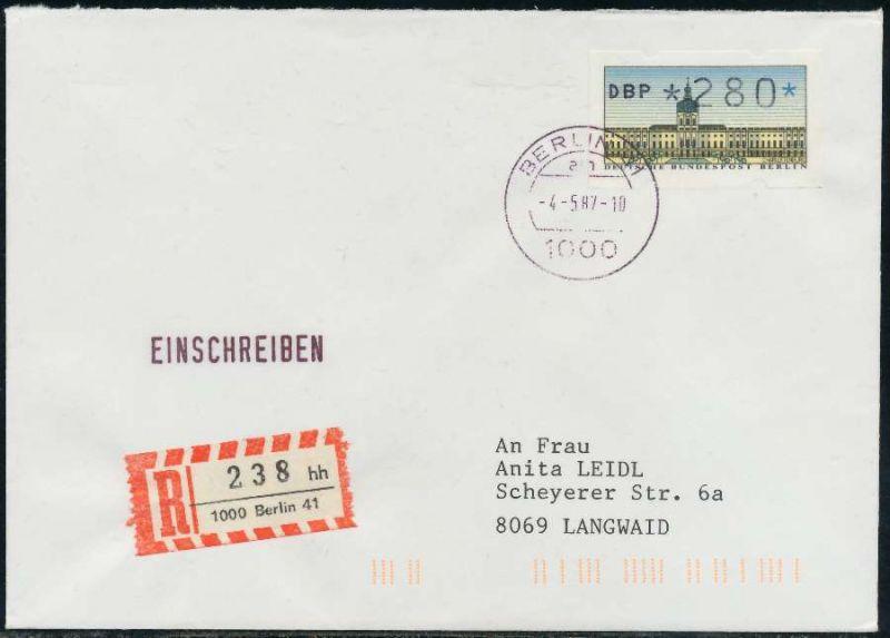Berlin Atm 1 280 Brief Einschreiben Fdc 7e465a Nr 1ea0055af0a