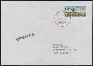 BERLIN ATM 1-070 BRIEFDRUCKSACHE EF FDC 7E46CE