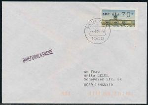 BERLIN ATM 1-070 BRIEFDRUCKSACHE EF FDC 7E46CA