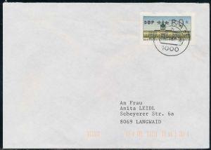 BERLIN ATM 1-080 NORMAL-BRIEF EF FDC 7E46BE