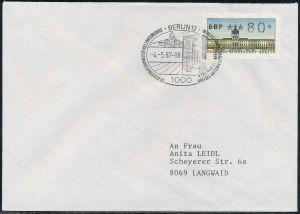 BERLIN ATM 1-080 NORMAL-BRIEF EF FDC 7E46F6