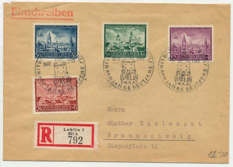 GENERALGOUVERNEMENT 1942 Nr 92-95 BRIEF MIF SAB 7E66C2