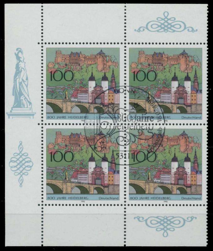 BRD 1996 Nr 1868 ESST zentrisch gestempelt VIERERBLOCK ECKE- 7EB072
