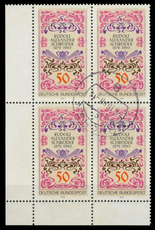 BRD 1978 Nr 956 zentrisch gestempelt VIERERBLOCK ECKE-ULI 7EB0C2