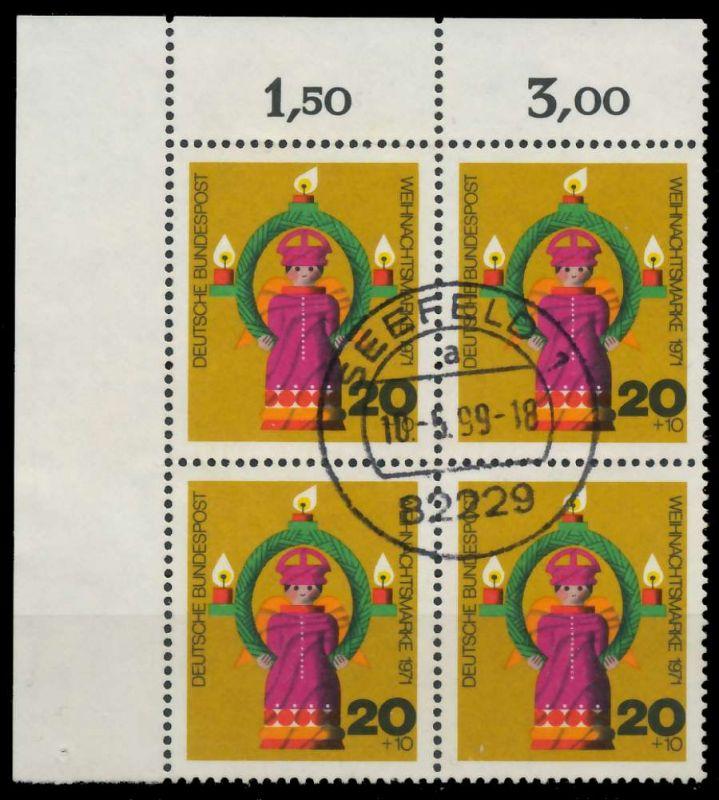 BRD 1971 Nr 709 zentrisch gestempelt VIERERBLOCK ECKE-OLI 7EB0DE