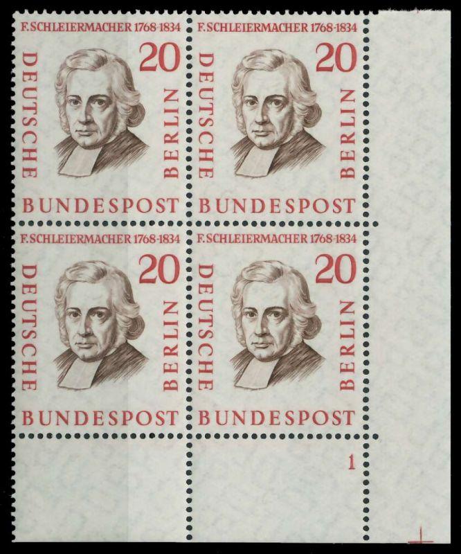 BERLIN 1957 Nr 167 postfrisch VIERERBLOCK FORMNUMMER 1 7F104A