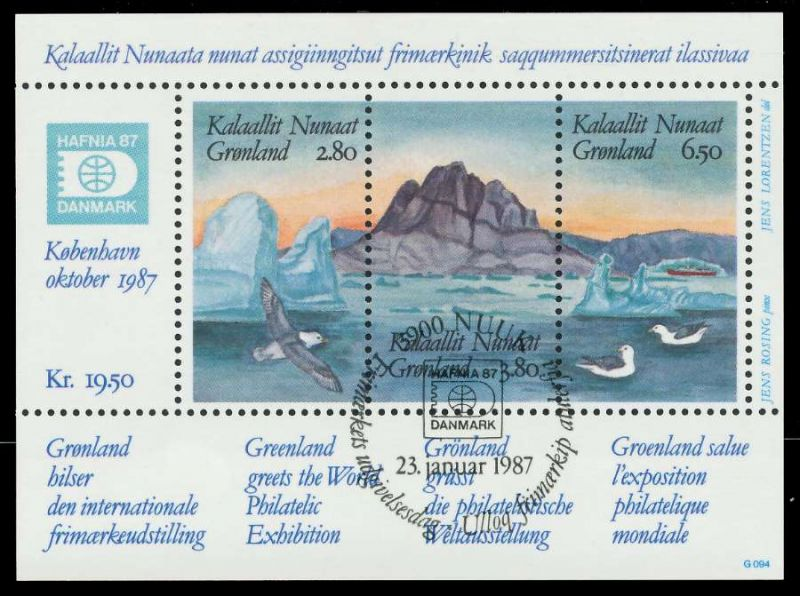 GRÖNLAND Block 1 zentrisch gestempelt S019652