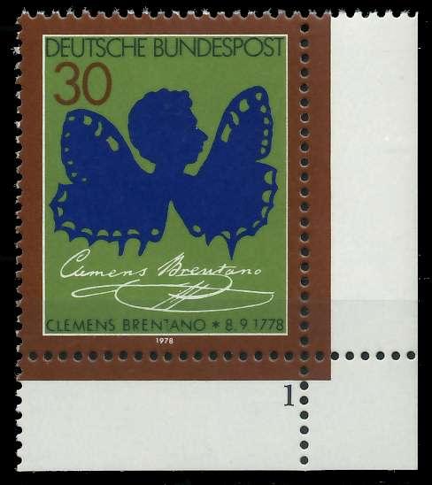 BRD 1978 Nr 978 postfrisch FORMNUMMER 1 S5F4EF6