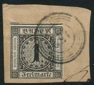 BADEN AUSGABEN VON 1851 - 1858 Nr 5 zentrisch gestempelt BRF 818CFA