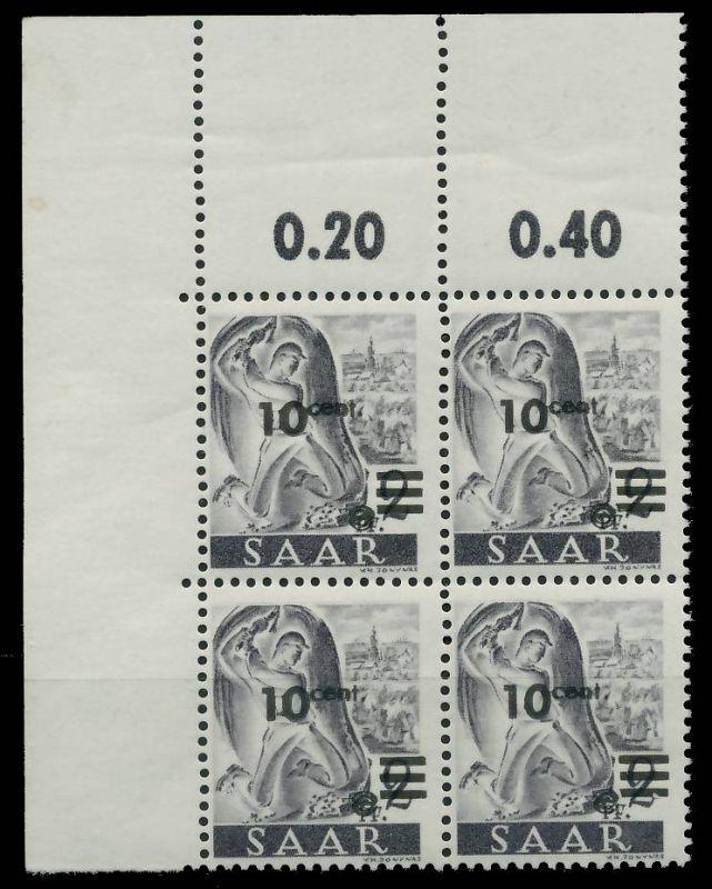 SAARLAND 1947 Nr 226ZII postfrisch VIERERBLOCK ECKE-OLI 81B02E
