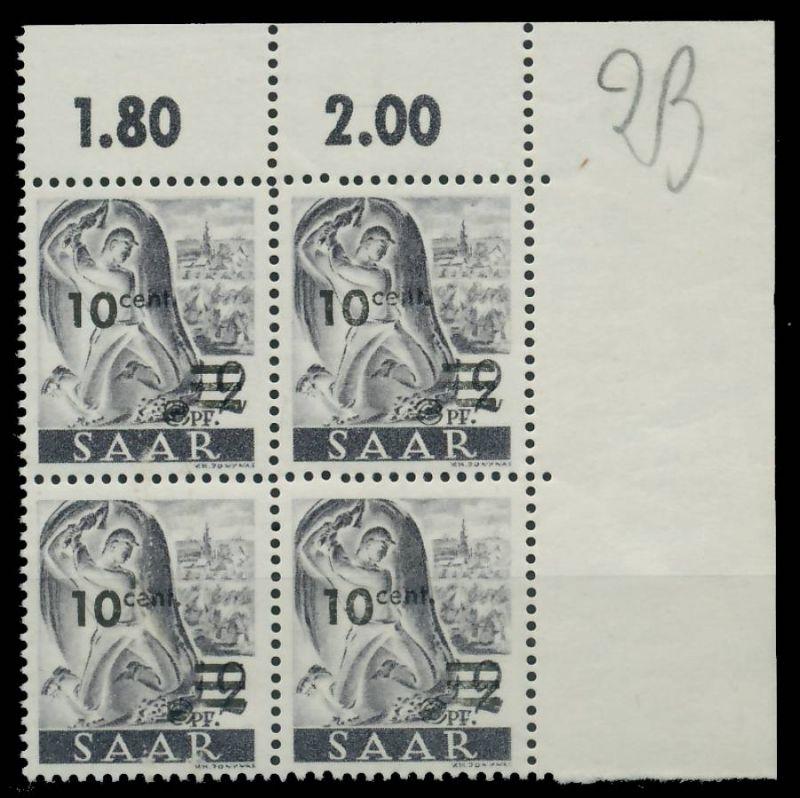SAARLAND 1947 Nr 226ZII postfrisch VIERERBLOCK ECKE-ORE 81B032