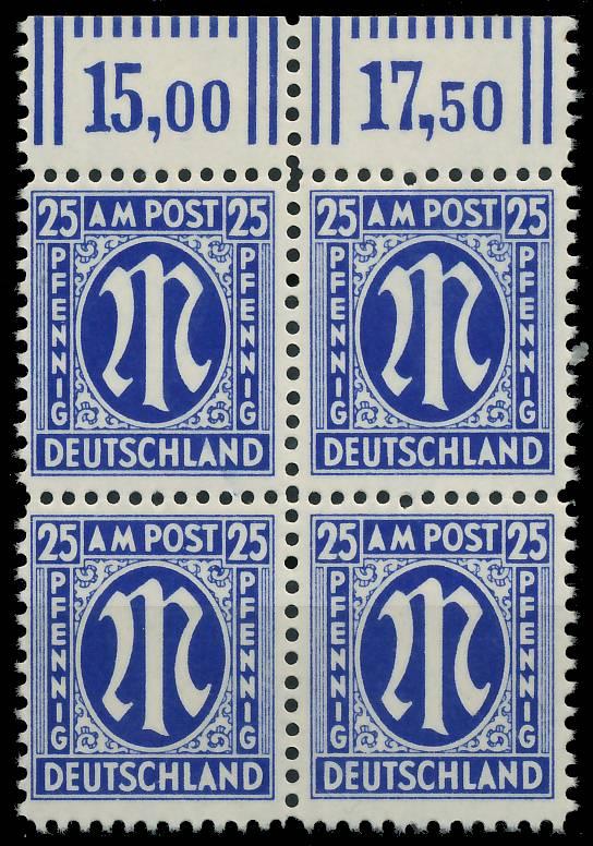 BIZONE AM-POST Nr 28Cz postfrisch VIERERBLOCK ORA 81E542