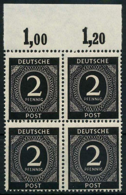 KONTROLLRAT ZIFFERN Nr 912a P OR ndgz postfrisch VIERER 82076E