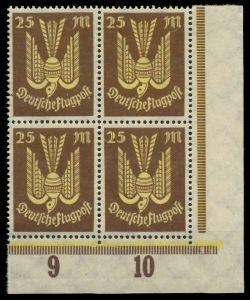 D-REICH INFLA Nr 236 postfrisch VIERERBLOCK ECKE-URE 8268FE