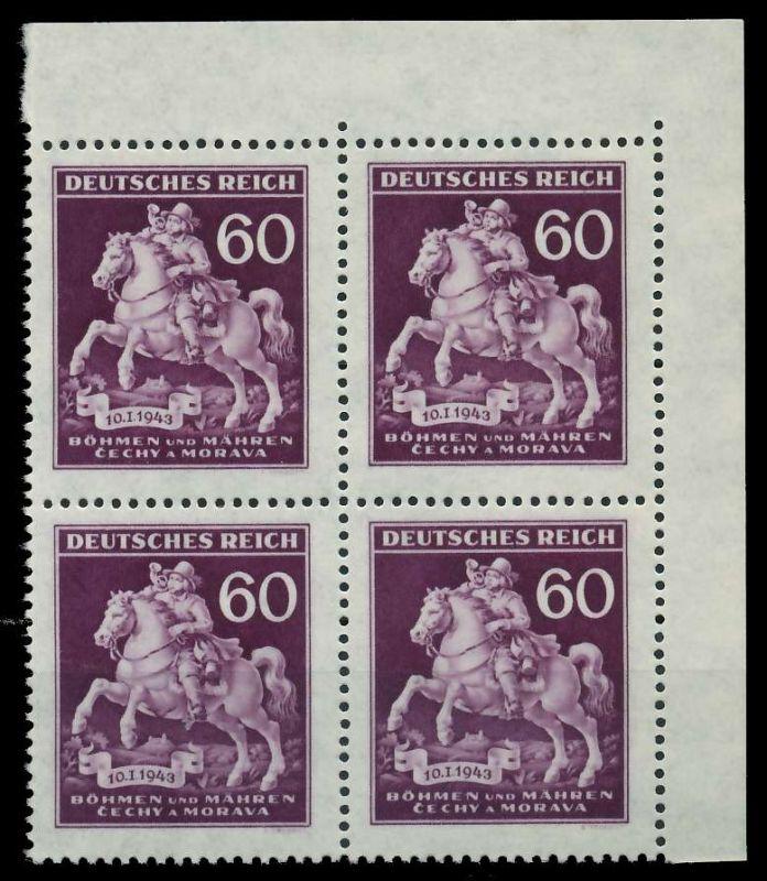 BÖHMEN MÄHREN 1943 Nr 113 postfrisch VIERERBLOCK ECKE-O 82AC16