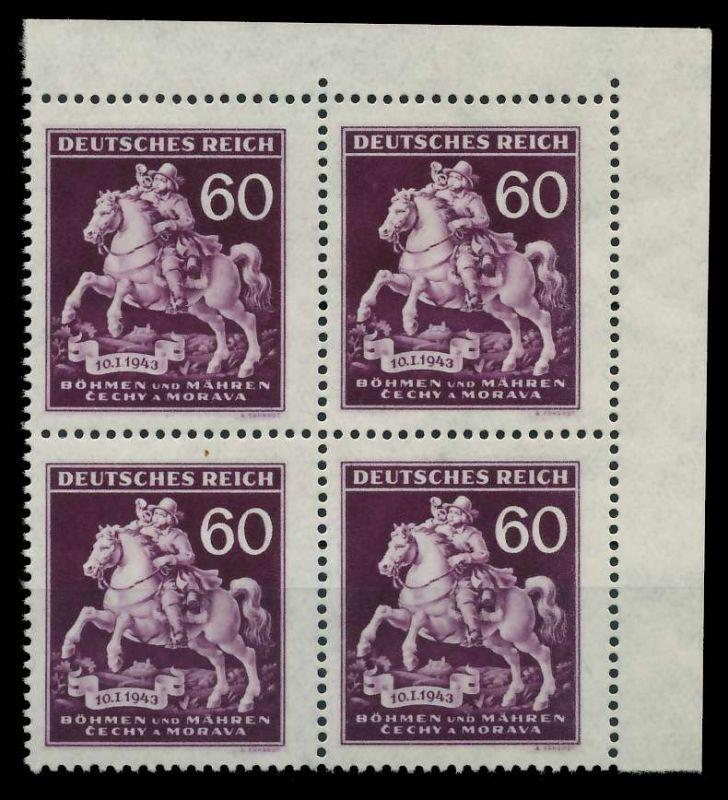 BÖHMEN MÄHREN 1943 Nr 113 postfrisch VIERERBLOCK ECKE-O 82AC1A