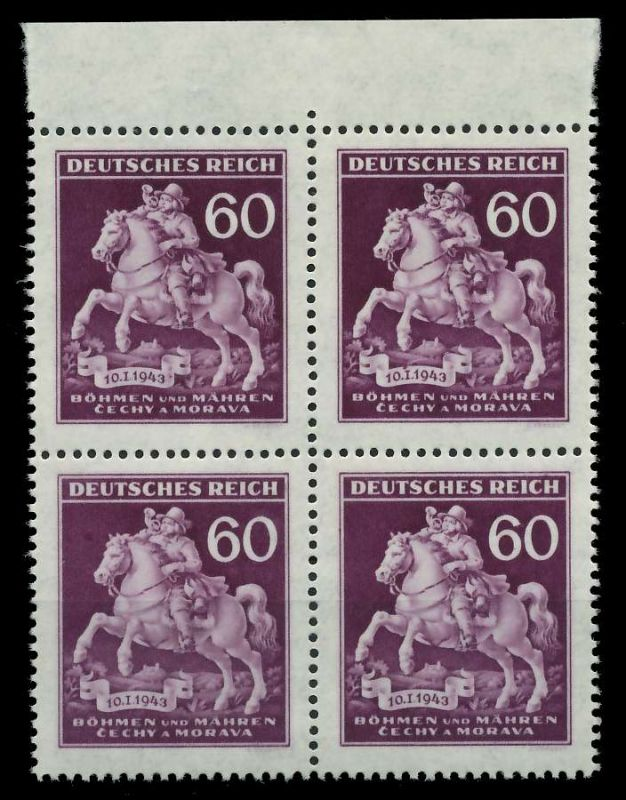 BÖHMEN MÄHREN 1943 Nr 113VI + 113 postfrisch VIERERBLOC 82AC4A 0