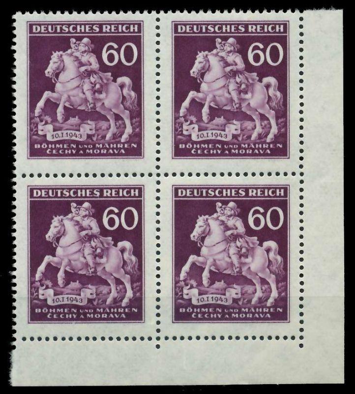 BÖHMEN MÄHREN 1943 Nr 113V postfrisch VIERERBLOCK ECKE- 82AC4E