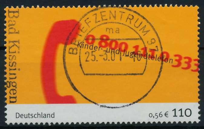 BRD 2001 Nr 2164 zentrisch gestempelt 84D4DA