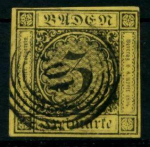BADEN AUSGABEN VON 1851 - 1858 Nr 2b gestempelt 6BBF22