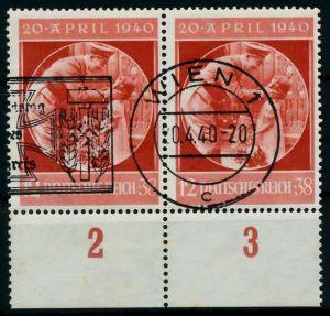 DEUTSCHES REICH 1940 Nr 744 zentrisch gestempelt WAAGR PAAR 87C3F6