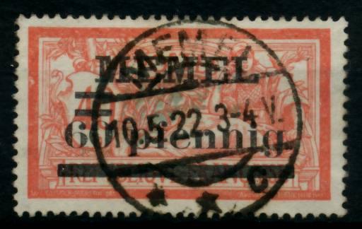 MEMEL 1920 Nr 24y zentrisch gestempelt gepr. 6B558A