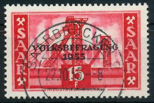 SAARLAND 1955 Nr 362 zentrisch gestempelt 885E76