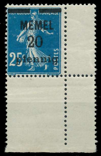 MEMEL 1920 Nr 20b postfrisch ECKE-URE 887D8E