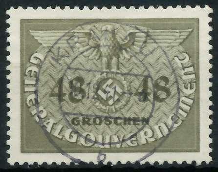 GENERALGOUVERNEMENT DIENST Nr 9 zentrisch gestempelt 889FA2
