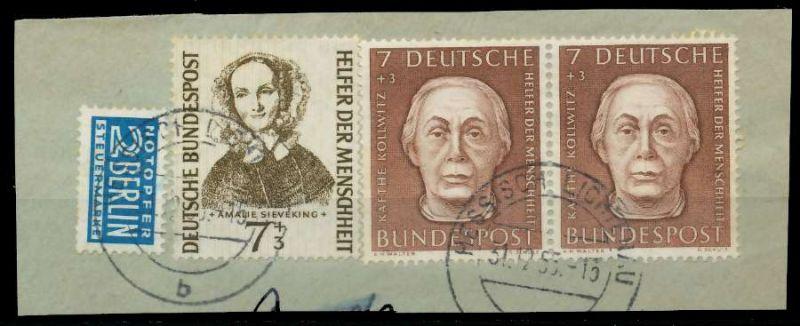 BRD 1954 Nr 200 + 222 zentrisch gestempelt Briefst³ck 89C5CE