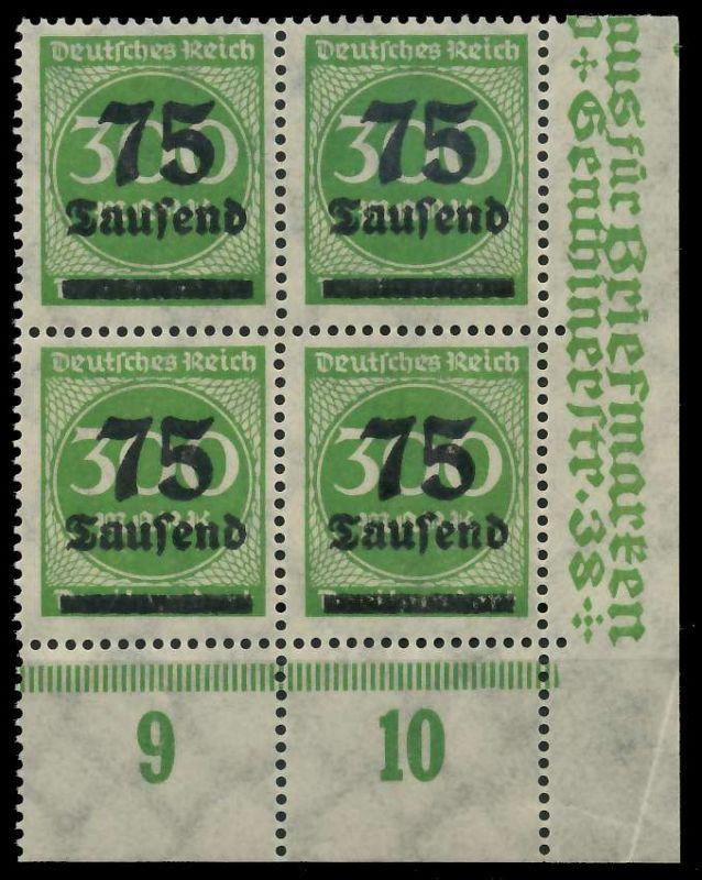 DEUTSCHES REICH 1923 HOCHINFLA Nr 286 postfrisch VIERER 89C6FA