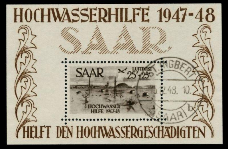 SAARLAND 1948 Block2 zentrisch gestempelt ATTEST 89C7CE