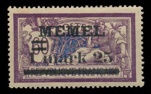 MEMEL 1920 Nr 27y ungebraucht 89C87A 0