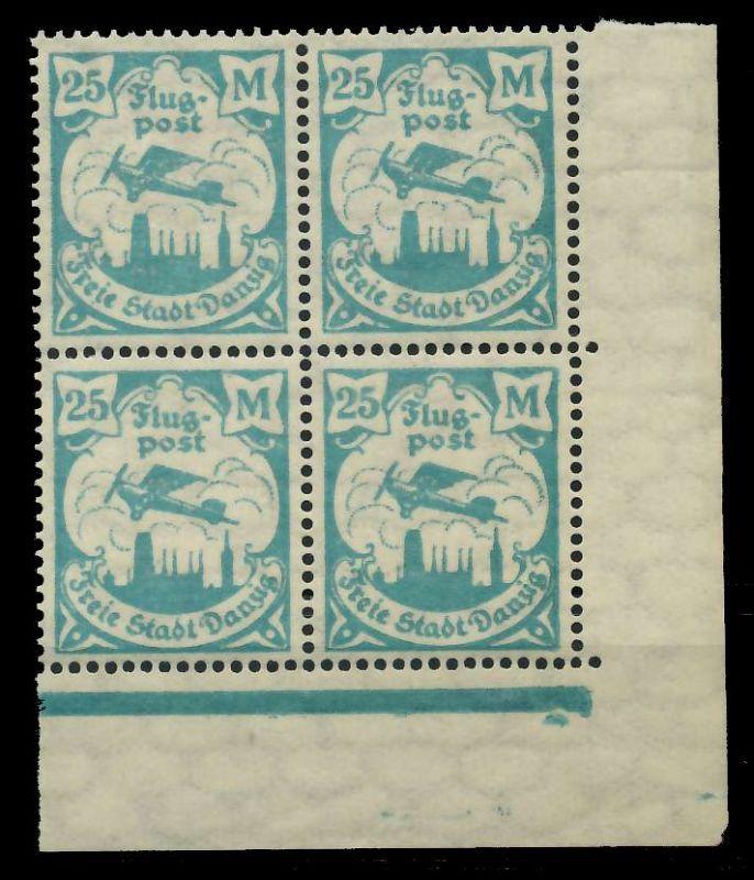 DANZIG 1923 Nr 133Y postfrisch VIERERBLOCK ECKE-URE 89C8E6